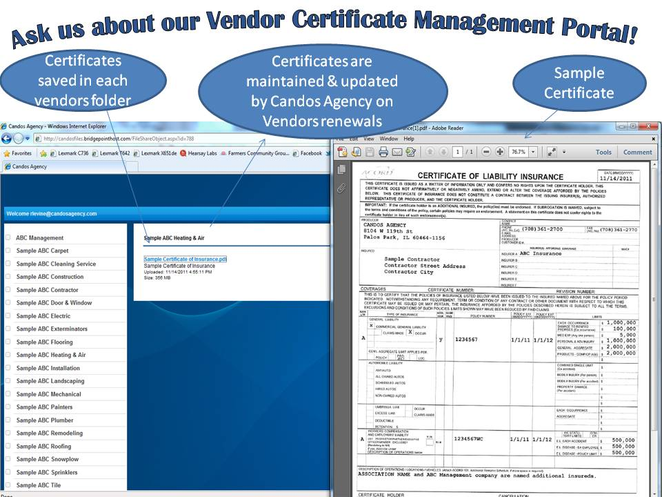 candos insurance agency vendor certificate management program ...